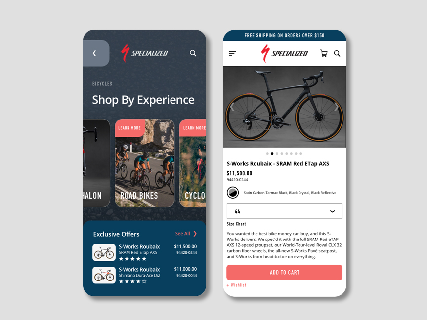 screenshot of a cycling store app woth three screens displaying layout and content