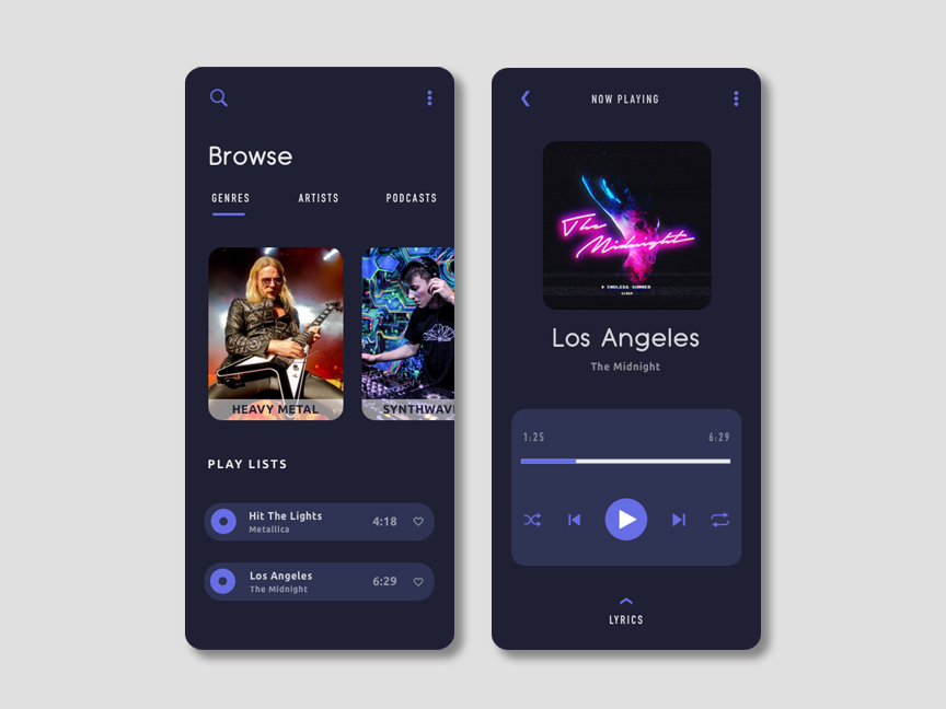 screenshot of a music app with three screens displaying layout and content