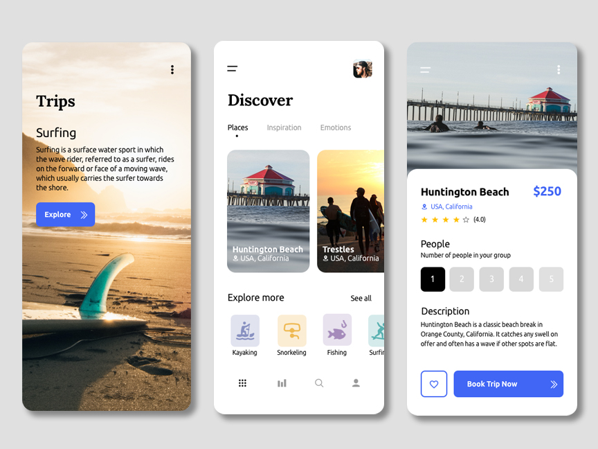 screenshot of a travel app woth three screens displaying layout and content