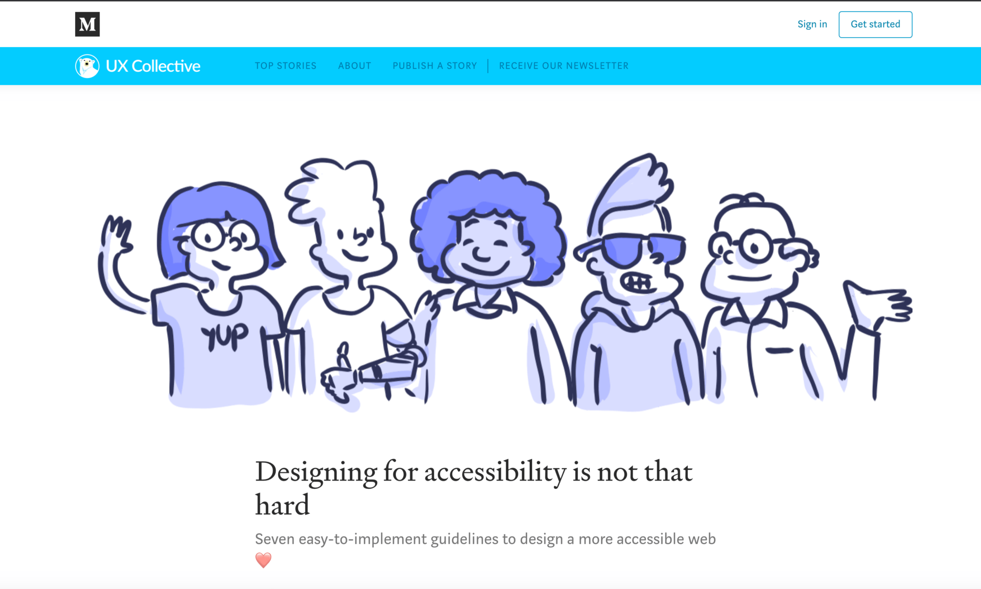 funky hand drawn image of people with disabilities standing together. Landing page.
